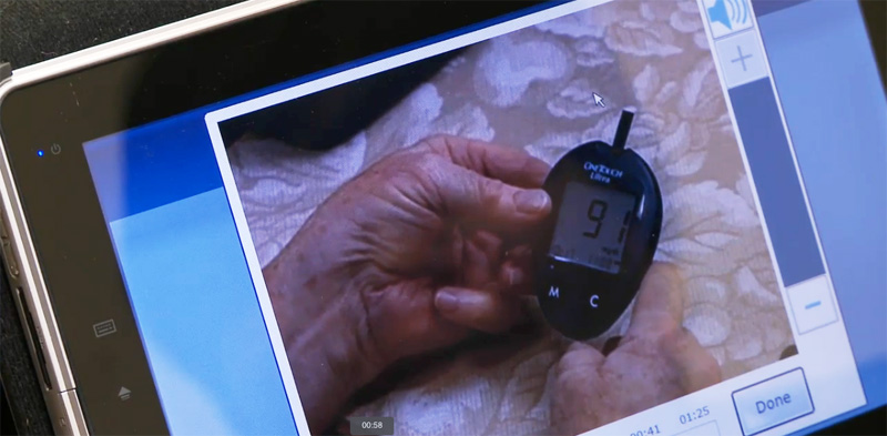 A patient sends her glucose data for review through the UMC Telehealth Diabetes Health Network.